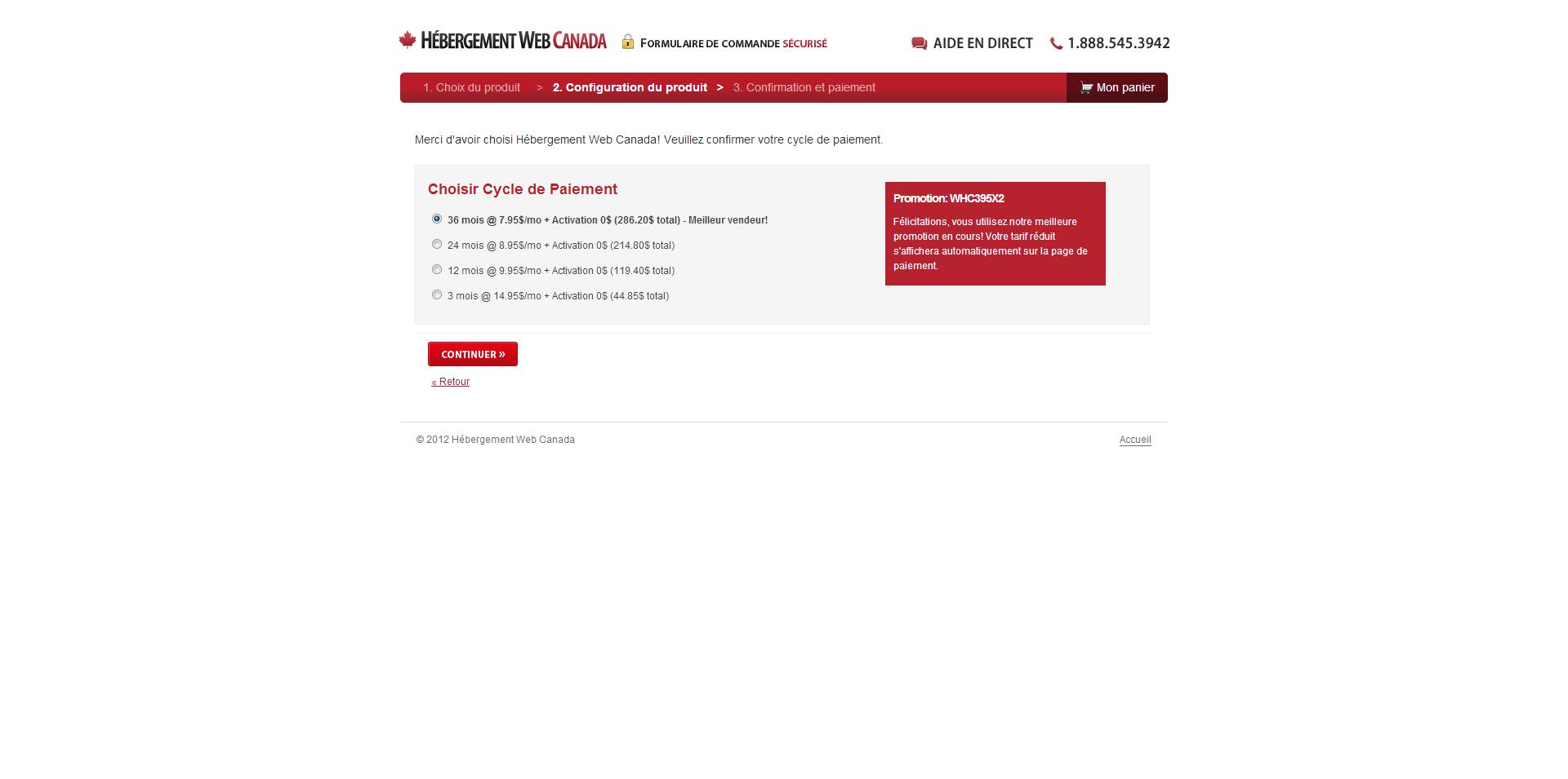 Hébergement Web Canada Cycle de paiement