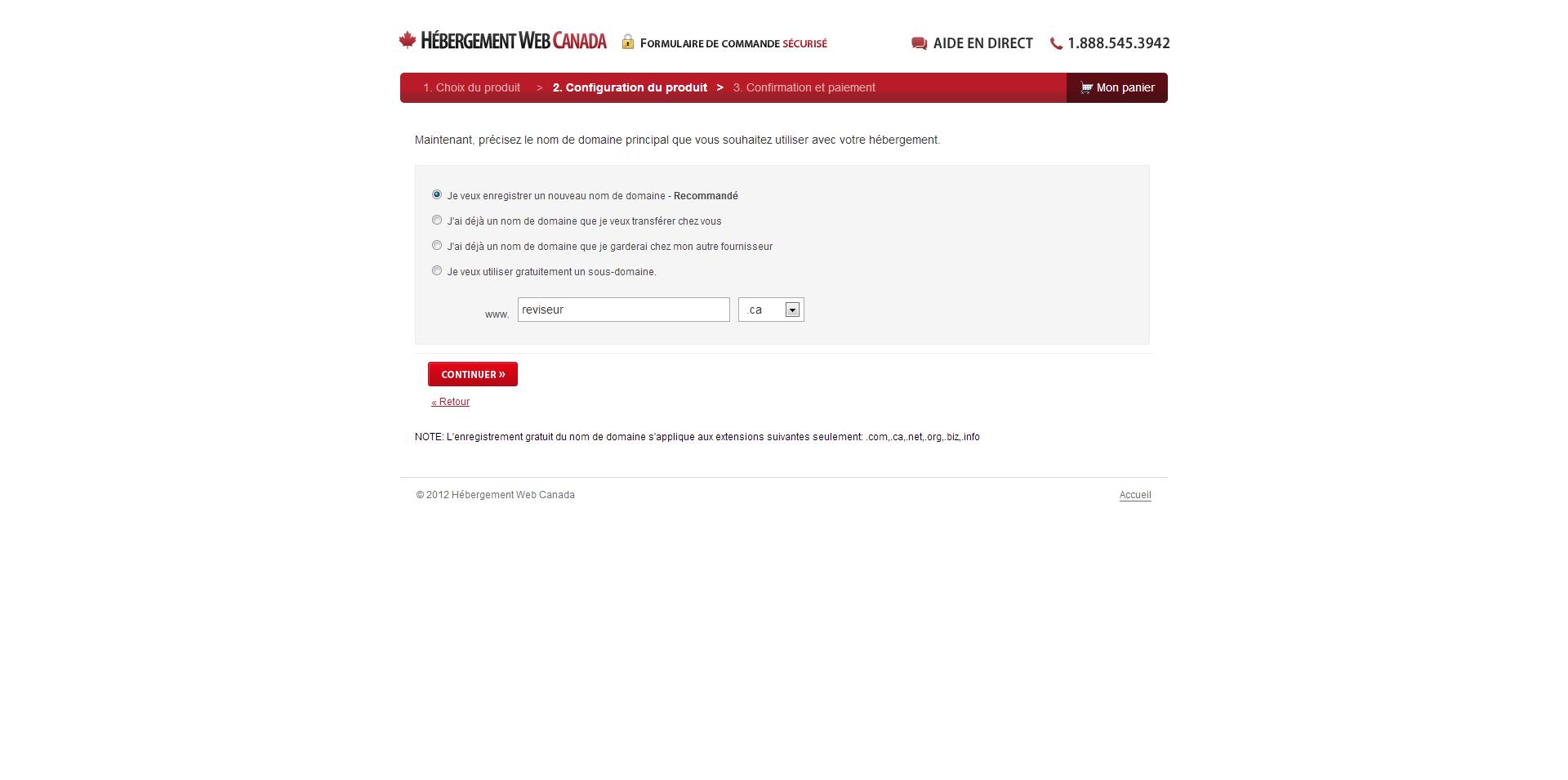 Hébergement Web Canada Enregistrer Domaine