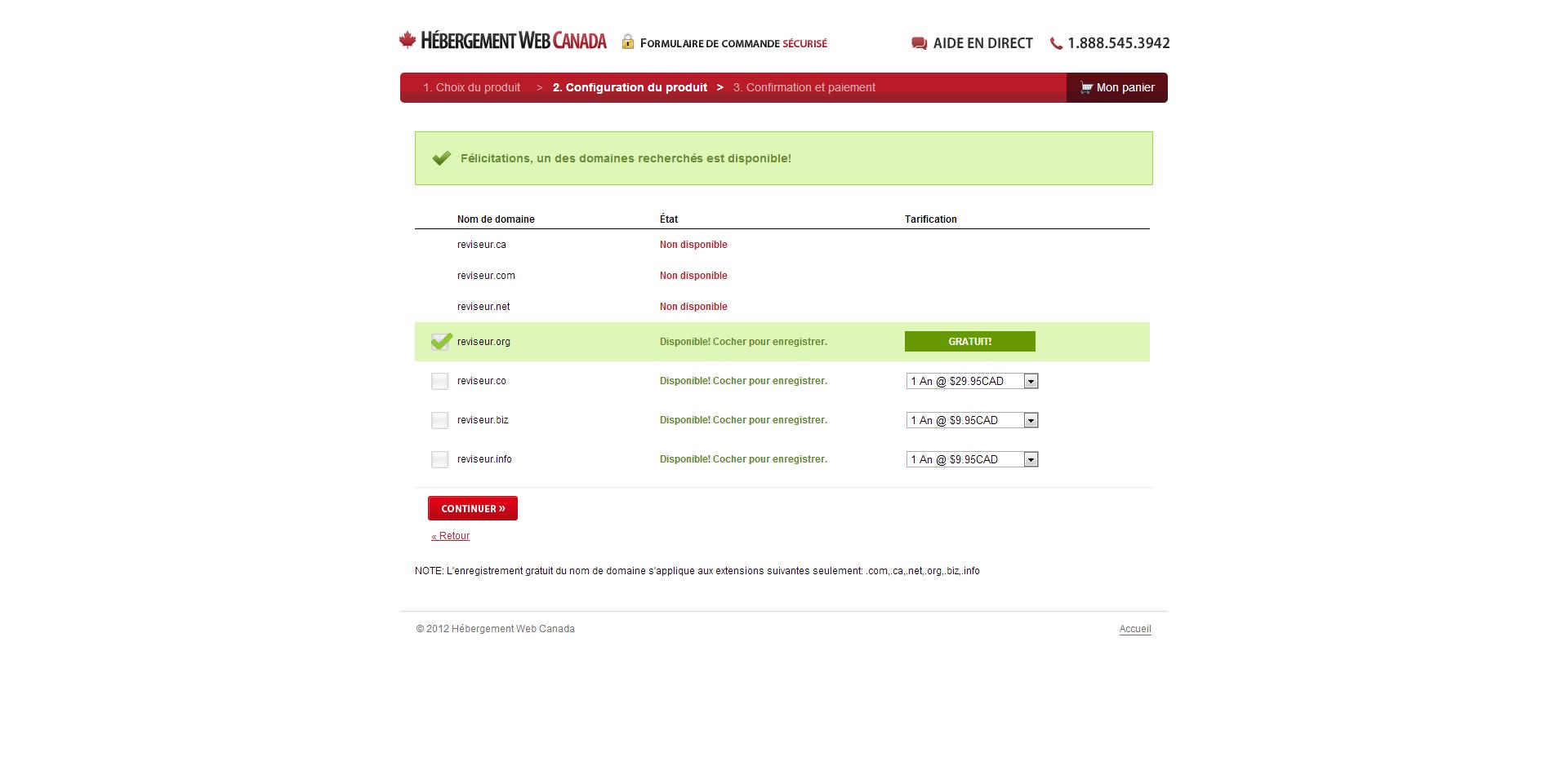 Hébergement Web Canada Nom de domaine