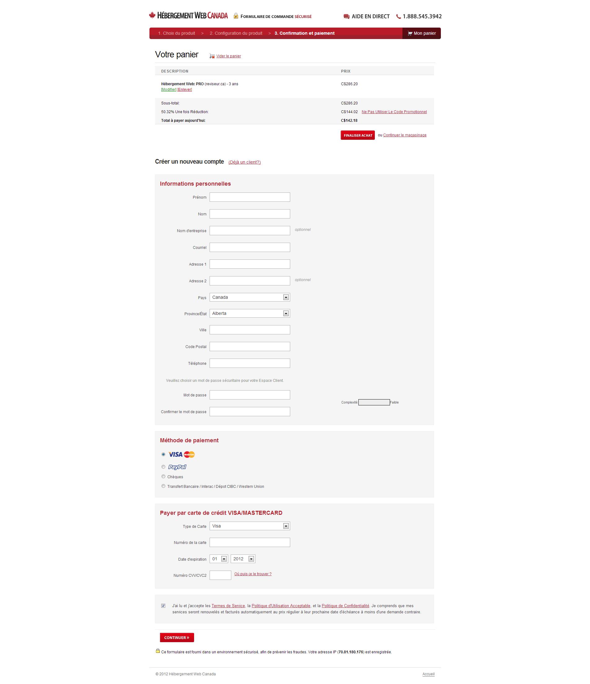 Hébergement Web Canada Panier de commande