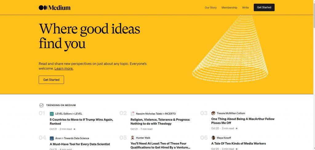Page d'accueil Medium