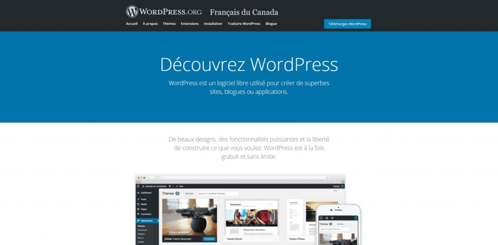 Page d'accueil WordPress